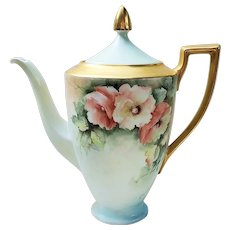 "Gorgeous H & Co. Selb Bavaria 1940-50's Hand Painted ""Peach & White Poppy"" 10-1/2"" Floral Tea Pot by Artist, ""June Power"""