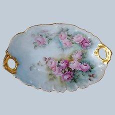 """Wonderful Tressemann & Vogt Limoges France 1900 Hand Painted """"Red & Pink Roses"""" Floral Tray by Artist, :L.V.H. Grosh"""""""