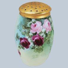 "Wonderful Vintage Bavaria 1900's Hand Painted ""Red & Pink Roses"" 4-1/2"" Floral Sugar Shaker"