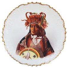 "Outstanding Vintage Blakeman & Henderson Limoges France 1900 Hand Painted ""Assiniboine Chief Wets It"" Scenic Portrait Plate"