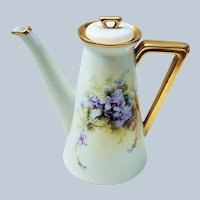 """Attractive Vintage Bavaria 1900's Hand Painted """"Violets"""" Floral Tea Pot Professionally Decorated"""