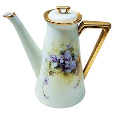 "Attractive Vintage Bavaria 1900's Hand Painted ""Violets"" Floral Tea Pot Professionally Decorated"