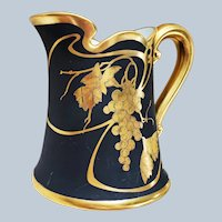 "Just Stunning Blakeman & Henderson Limoges France & J.H. Stouffer 1906 Hand Painted ""Black & Gold Grapes"" 7-3/8"" Fancy Scallop Fruit Decor Pitcher"