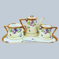 """Wonderful Pickard Studio of Chicago 1910 Hand Painted """"Violets"""" 5-Pc Floral Tea Set & Tray by Artist, """"Ruth Alexander"""""""
