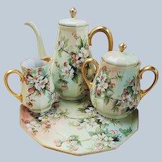 "Fabulous Ester Miler Limoges France 1900 Hand Painted ""White & Peach Roses"" 4 Pc Floral Tea Set & Tray"