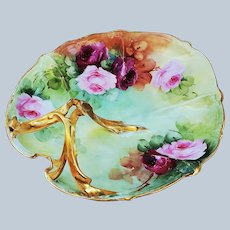 """Gorgeous 11"""" Vintage Limoges France 1900's Hand Painted """"Red & Pink Roses"""" Heart Shape Floral Nappy by Artist, """"Z.J."""""""