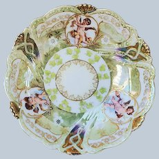 """Scare & Beautiful RS Prussia Vintage 1900 """"Putti's"""" Scenic Iridescent & Extensive 22 K Gold Berry Bowl"""