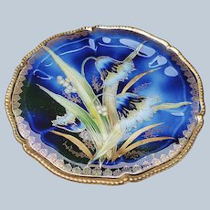 """Beautiful Vintage RS Prussia 1900 """"Water Lilies"""" 8-3/4"""" Cobalt Blue Floral Plate"""