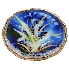 "Beautiful Vintage RS Prussia 1900 ""Water Lilies"" 8-3/4"" Cobalt Blue Floral Plate"
