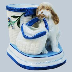 """Charming Vintage KPM 1900 Hand Painted """"Dog"""" & Floral Scenic Match Holder"""