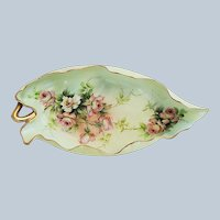 """Ester Miler"" Fancy & Scallop Limoges France 1900 Hand Painted ""Peach & White Roses"" 10-3/8"" Leaf Mold Tray"