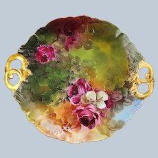 """Fabulous Jean Pouyat Limoges France 1901 Hand Painted """"Deep Red Roses"""" 11-1/2"""" Floral Plate by the Artist, """"Flora"""""""