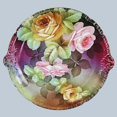 """Magnificent 13-1/2"""" Ginori Vintage 1900's Hand Painted """"Pink & Yellow Roses"""" Floral Charger by the Artist, """"L. Ginbampof"""""""