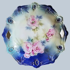 """Spectacular RS Prussia 1900 """"Pink Roses"""" Cobalt Blue Ribbon & Jewel Mold 10-1/2"""" Floral Plate"""