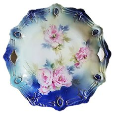 "Spectacular RS Prussia 1900 ""Pink Roses"" Cobalt Blue Ribbon & Jewel Mold 10-1/2"" Floral Plate"