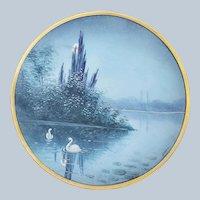 "Gorgeous Osborne Studio of Chicago 1914 Hand Painted ""Swans on a Full Moon Lake"" 9-1/8"" Scenic Vellum Plate by Artist ""Asbjorn Osborne"""