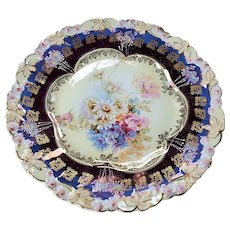 """Gorgeous RS Prussia 1900 Two-Tone Iridescent Purple """"Wild Flowers"""" 8-1/4"""" Floral Plate in Rosebud Decor"""