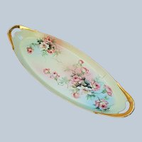 "Ester Miler 16-5/8"" T & V Limoges France 1900's Hand Painted ""Peach & White Roses"" Spectacular Floral Tray"