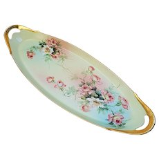 """Ester Miler 16-5/8"""" T & V Limoges France 1900's Hand Painted """"Peach & White Roses"""" Spectacular Floral Tray"""