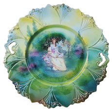 "Gorgeous RS Prussia 1900 Gainsborough ""Lady With the Fan Sitting in A Garden"" 10"" Point & Clover Mold Scenic Plate"