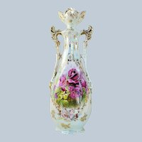 "Beautiful 12"" RS Prussia [ES] 1900's ""Deep Red Roses"" Iridescent Floral Vase"