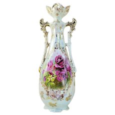 """Beautiful 12"""" RS Prussia [ES] 1900's """"Deep Red Roses"""" Iridescent Floral Vase"""