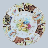 """Stunning 9"""" RS Prussia Vintage 1900 """"Wild Flowers"""" with Vignettes in Relief & Iridescent Tiffany Decor Lily Mold Plate"""