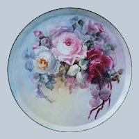 """Fabulous 13-1/2"""" Tressemann & Vogt Limoges France 1900's Hand Painted """"Red, Pink, & White Roses"""" Floral Tray"""
