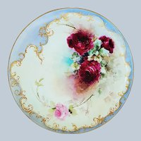 "11-1/8"" Exquisite Haviland & Co. Limoges 1900's Hand Painted ""Deep Red Roses"" Floral Charger by Artist, ""J.C.R."""