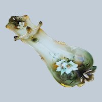 "Scarce 14-5/8"" RS Prussia Early 1900's ""Christmas White Roses"" 14-5/8"" Floral Spoon Holder"