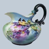 """Exceptional T & V Limoges France 1900's Hand Painted """"Blackberry"""" 8"""" Floral Cider Pitcher."""