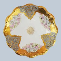 "Charming Limoges France 1900's Hand Painted ""Violets"" 8-1/2"" Heavy Gold Floral Plate"