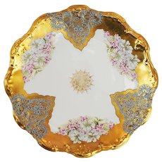 """Charming Limoges France 1900's Hand Painted """"Violets"""" 8-1/2"""" Heavy Gold Floral Plate"""