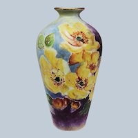 "Outstanding Vintage Bavaria 1900's Hand Painted Vibrant ""Yellow Pansies"" 6"" Floral Vase"