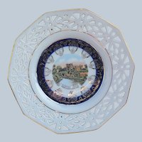 "Charming RS Prussia [OS] 1900's ""Kilkenny Castle of Ireland"" 6-3/8"" Scenic Lattice Style Plate"