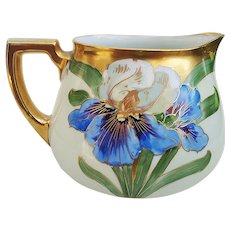 """Exquisite William Guerin Limoges France 1900's Hand Painted Vibrant """"Iris"""" Floral Cider Pitcher by Chicago Decorator, """"Alfred"""""""