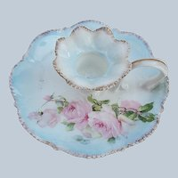 """Gorgeous RS Prussia 1910 """"Pink Roses"""" Floral Chamberstick Holder"""