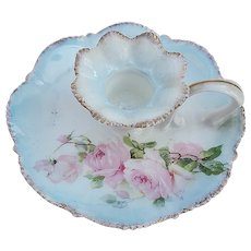 "Gorgeous RS Prussia 1910 ""Pink Roses"" Floral Chamberstick Holder"