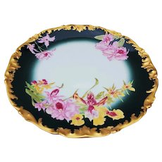 "Stunning 12-5/8"" Tressemann & Vogt Limoges France 1900 Hand Painted ""Pink & Yellow Iris"" Rococo Style Floral Charger"