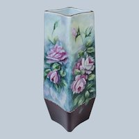 """Beautiful 10"""" Bavaria 1900's Hand Painted """"Deep Pink Roses"""" 4-Sided Floral Vase by Artist, """"M. Gustaerson"""""""