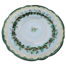 """Stunning Vintage Austria 1900's Holiday """"Holly & Berry"""" Christmas Floral Plate"""