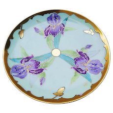 "Gorgeous Vintage Haviland & Co. 1900's Hand Painted ""Purple Iris"" Floral Plate with 22 K Gold Tracing by Pickard Artist, ""Joseph Blaha"""