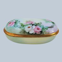 "Gorgeous RS Prussia 1900's Hand Painted ""Pink & White Roses"" Floral Dresser Box"