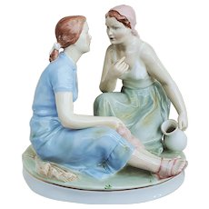 "Beautiful Royal Dux Bohemia 1919 Hand Painted ""Two Friends Sharing Potica"" 10"" Figurine"