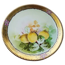 """Beautiful Vintage Jean Pouyat Limoges France 1900's Hand Painted """"Lemons"""" 8-5/8"""" Fruit Plate by Edward Donath Studio of Chicago"""