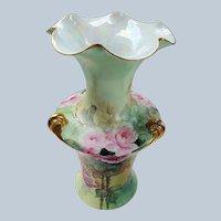 "Spectacular & Elegant Vintage Rosenthal 1900's Hand Painted ""Red & Pink Roses"" 10-3/4"" Fancy 3-Handle Floral Vase"