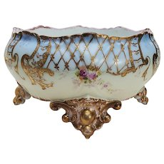 """Exquisite Vintage Limoges France 1900's Hand Painted """"Petite Red Roses"""" with Extensive Raised 22 K Gold Hatching Fancy 4-Footed Floral Planter"""