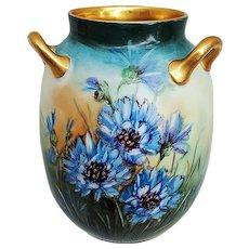 "Fabulous 3-Handle & 3 Sided Vintage Haviland 1900's Hand Painted ""Blue Cornflowers"" Floral Vase with Extensive Decor"