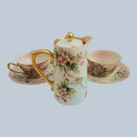 """Ester Miler"" Charming Vintage Tressemann & Vogt Limoges France 1900's Hand Painted ""Wild Peach Roses"" Floral 6-Pc Tea For Two Set"
