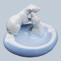 "Charming Gerold Porzellan Bavaria 1900's Hand Painted ""Pair of Polar Bears"" Figurine Ashtray"